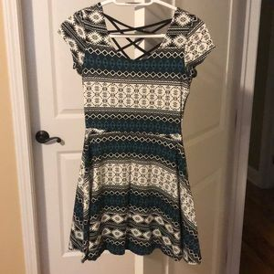 Patterned Teal, Black and White Dress